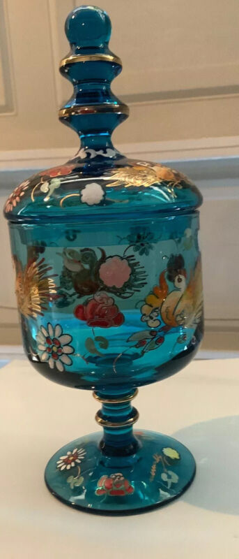 Antique- Beautifully Hand-painted 1800s European Glass-Covered Candy Dish-Signed