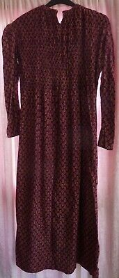 Boho Indian printed cotton maxi dress vintage authentic 70s burgundy red shirred