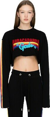 GCDS Abracadabra top XL cropped rainbow sweatshirt NEW ladies black crop top