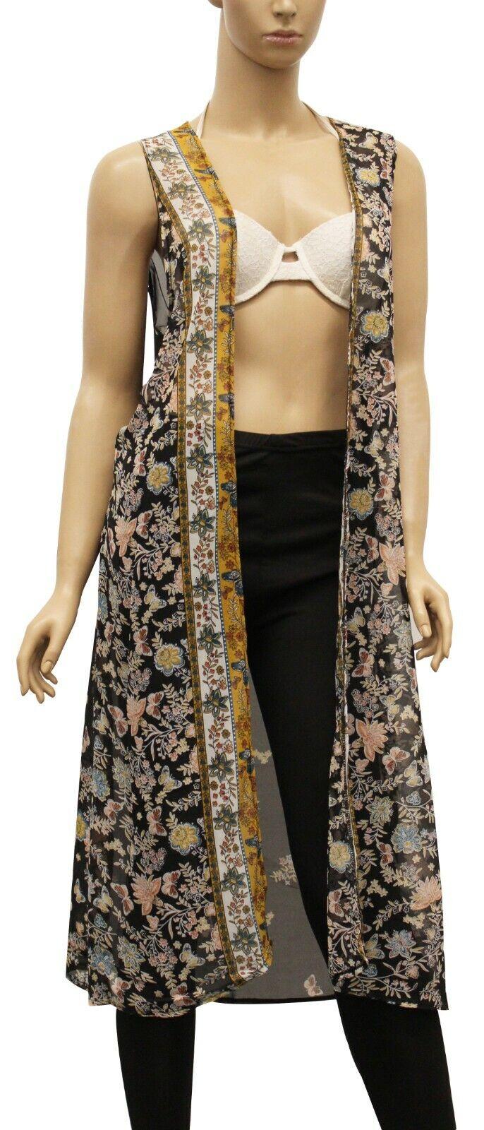 Womens Poncho Chiffon Kimono Black Floral Tank Dress Top Swi