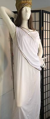 QUEEN NEFERTITI-CLEOPATRA TOGA WHITE & GOLD SEQUIN  COSTUME GOWN 1 PC ONLY- - Nefertiti Costumes