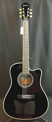 2015 Epiphone FT-350SCE Dreadnought Cutaway Acoustic-Electric Guitar Gloss Black