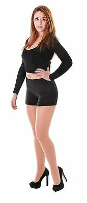 Little Black Dress Halloween (Ladies Black Hot Little Shorts Halloween Fancy Dress Spandex Hotpants)