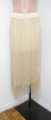 DONNA KARAN SILK BEADED FRINGE EVENING SKIRT 6 Beaded Fringe Skirt