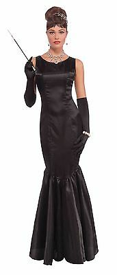 Womens Vintage Hollywood Star Gown Long Black Fancy Dress Starlet 20s 30s Adult](Hollywood Stars Costumes)