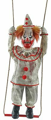 Halloween Animated SWINGING HAPPY HOMICIDAL CLOWN DOLL Prop Haunted House NEW