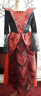 GEORGE Girls age 11-12 years red/black STUNNING fancy dress with Rose design (12 Stunning Red Roses)