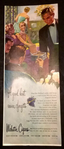 WEBSTER CIGARS 3 Fancy Dressed Couples 1950 Pictorial Print Ad