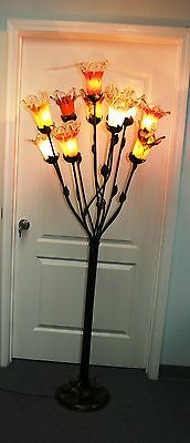 Multi Color Glass Floor Lamp (HAND MADE  WROUGHT IRON FLOOR LAMP &11  MULTI-COLOR GLASS SHADES )