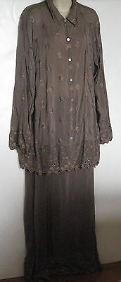 2 pc set Johnny Was Collection JWLA Embroidered Rayon Maxi Skirt LS Tunic USA XL