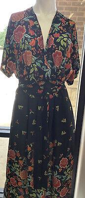 Zara Women NWT Maxi Short Sleeve Belted  Dress Black Background Floral Xs