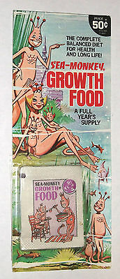 vintage SEA MONKEYS GROWTH FOOD sealed MOC 1971 MINT ON CARD retro aquarium