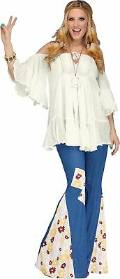 The Groovy 60's Peace Adult Women Hippie Bell Bottoms Costume Pants Denim Look - Hippie Halloween Look