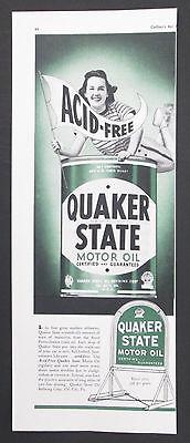 Quaker State Motor Oil Original 1939 Vintage 1/2 Page Print Ad