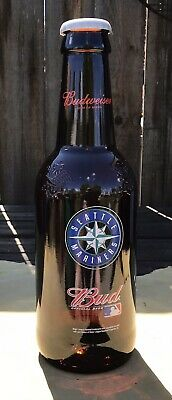 """Budweiser Seattle Mariners King Pitcher 15"""" Glass Beer Bottle Bank 64oz (2-h)"""