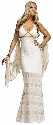 Sexy Goddess Costume Womens Long White Gown Egyptian Roman Fancy Dress Adult NEW