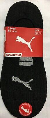 Puma  Sport 3-Pair Men's No Show Liner Socks  Black   (3928)
