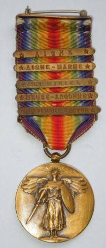 WWI US Army 5 Bar Clasp Victory Medal Aisne Marne Argonne St. Mihiel Defensive