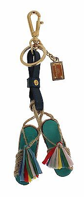 NWT DOLCE & GABBANA Multicolor Sandals Shoes Leather Finder Chain Keyring