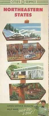1953 CITIES SERVICE Road Map NORTHEASTERN STATES Maine New York Michigan Ontario