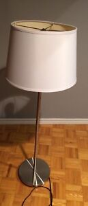 Stainless steel floor lamp with white shade LED