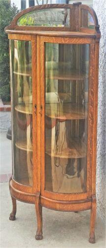 Antique American Oak Double Bowed Bent Glass Corner China Cabinet LA Area