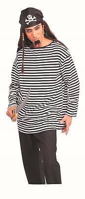 Black And White Prisoner Costume (Black and White Striped Long Sleeve Costume Shirt Pirate Clown Prisoner)