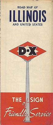 1951 D X Oil Road Map Illinois Route 66 Chicago Springfield Rockford Peoria