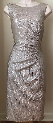 (Calvin Klein Shimmer Ruched Sheath Dress CD7BNH7X NWT Size 10)