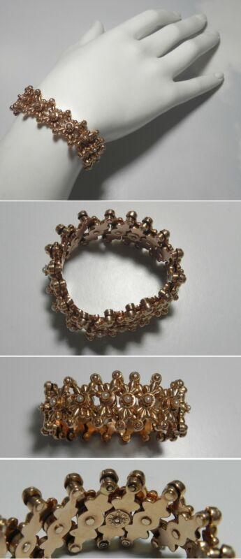 C1187 Vintage 14K Solid Rose Gold Seed Pearl Riveted Expandable Bracelet