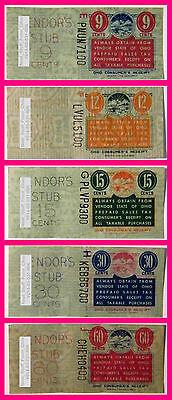 OHIO PREPAID SALES TAX RECEIPT 5-STAMP LOT.  9, 12, 15, 30 & 60¢  PRIOR TO 1962