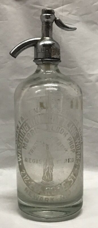 Vintage Czech Seltzer Clear Glass Bottle Statue of Liberty Washington Bottling