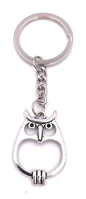 Eule flach Schlüsselanhänger Anhänger Silber aus Metall