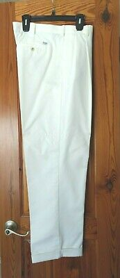 NWOT Izod Chino Twill white Pants, double pleated cuffed size 36X32 Twill Double Pleat Pants