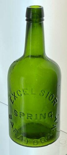 Antique Big Qt Size Excelsior Springs Saratoga Mineral Water Bottle BlazingGreen