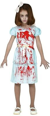 Girls Creepy Twin Sister Halloween Film Scary Bloody Fancy Dress Costume 5-12Yrs