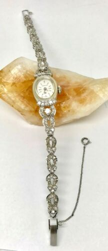 Vintage 14 K White Gold DIAMOND HAMILTON Ladies Watch w/ Card Identification