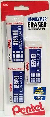 New Pentel Hi-polymer Zeh10 Non-abrasive Eraser 3-pack Large White Zeh10bp2f
