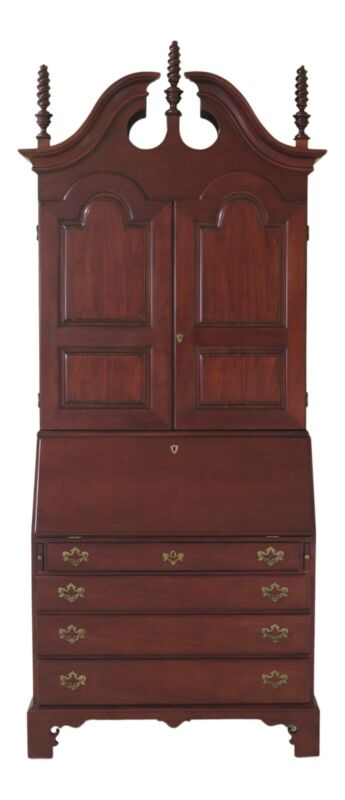 48278EC: WRIGHT TABLE CO. Blind Door Cherry Secretary Desk w. Bookcase Top