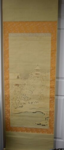 Antique Japanese Hanging Scroll Hand Painted Winter Mountain Snow Signed