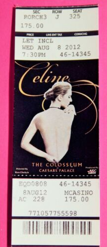 CELINE DION CAESARS COLOSSEUM VEGAS  ORIGINAL CONCERT USED TICKET AUG 8 2012