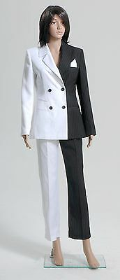 Batman Lady Two-Face Cosplay Costume Black White Outfit Suit Outfit Halloween