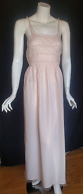 Vintage Gorgeous Textron Nightgown Gown Light Peach Pink Rayon Lace