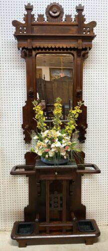 American Antique EastLake Victorian Walnut HallTree Marble Top Drawer Circa 1880