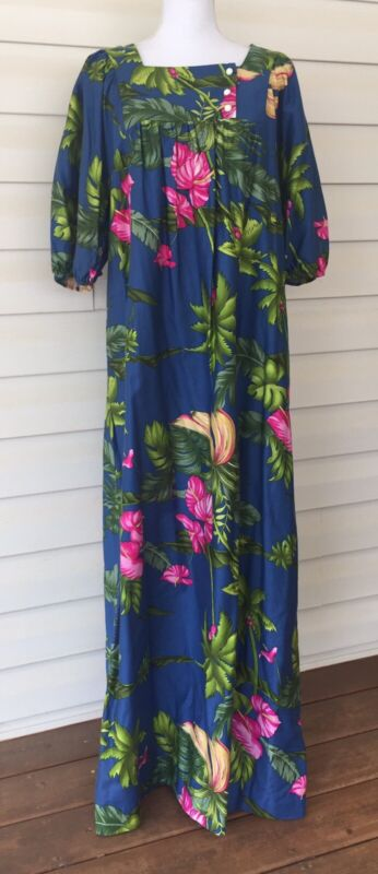 Hilo Hattie Hawaii Dress Womens Blue Palm Flowers 100% Cotton Size Large
