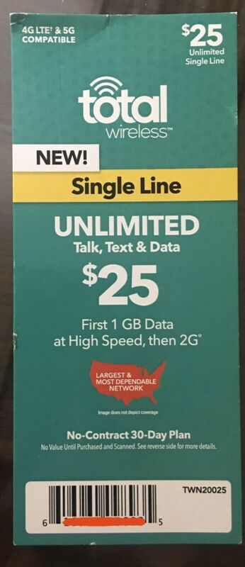 Total Wireless $25 30-Day Unlimited Talk/Text/Data, 4G LTE / 5G