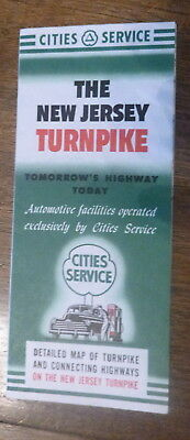 1953 New Jersey Turnpike toll  road map Cities Service gas