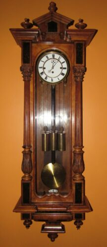 ANTIQUE BIEDERMEIER GRAND SONNERIE THREE WEIGHT VIENNA WALL CLOCK