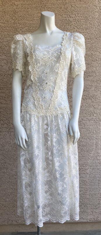 VTG 70s 80s Bridal Lace Dress Flapper Boho All sheer Crystals pearls Wedding