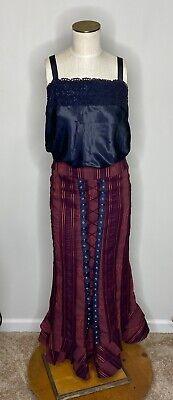 Victorian Corset Black Red Maxi Skirt Womens Sz 4 S Gothic Steampunk Mermaid